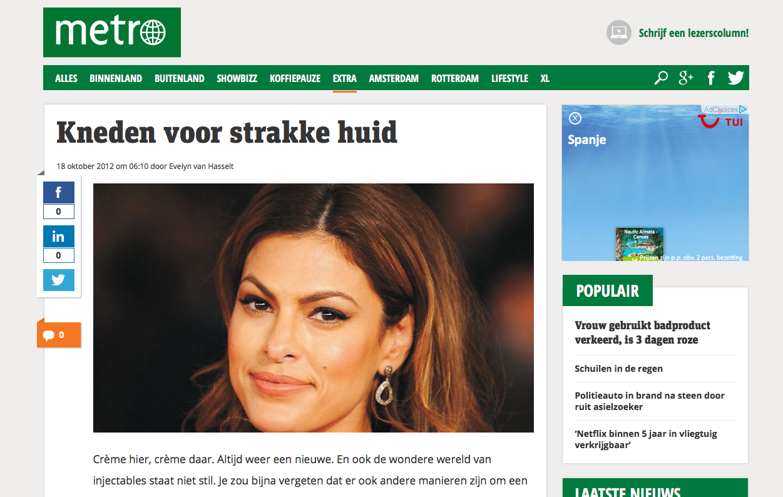 Gezien bij: Metro Nieuws – 'Kneden voor strakke huid'